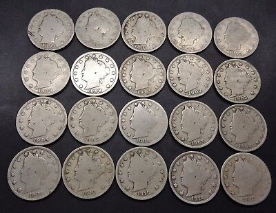 20 coin set) 1893,94,95,96,97,98,99,1900-1912 D Liberty head 5C V nickel lot