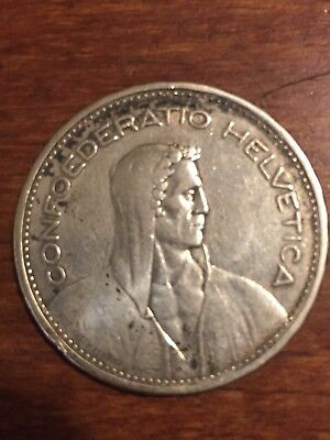 Switzerland 5 Francs, 1932 B Silver Coin