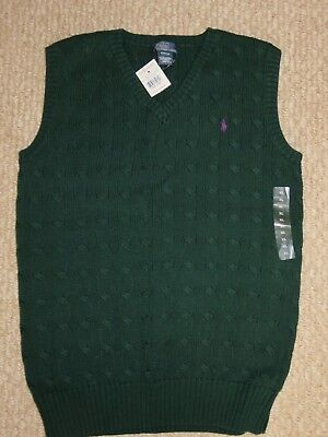 Ralph Lauren Polo Green Pony Cable Knit Sweater Vest Boys Youth Xl 18-20 Sm Men