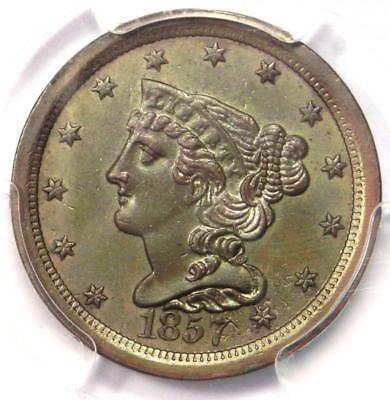 1857 Braided Hair Half Cent 1/2C Coin - PCGS Uncirculated Details (BU MS UNC)!