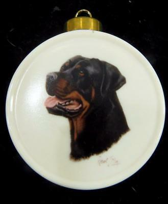 ROTTWEILER Dog Christmas Ornament Fine Porcelain Signed Robert May