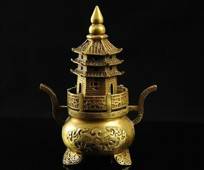 Chinese Brass Copper Buddhist Pagoda tower Censer incense burner