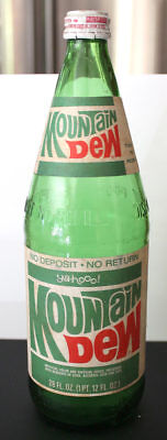 Scarce 1974 Mountain Dew 28Oz Bottle Paper Label No Deposit Original Cap Nr
