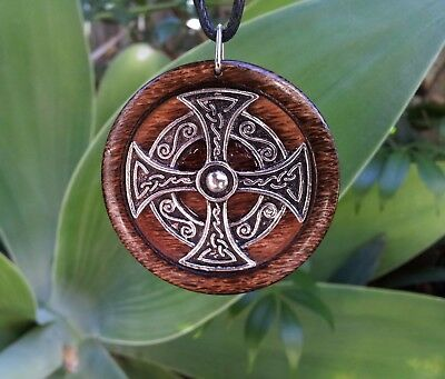 Celtic Cross Pendant in Burnt Oak, spiritual, rustic jewellery, cross necklace