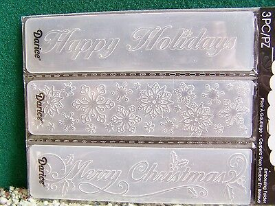 Merry Christmas Happy Holidays Snowflakes  3 Pack  Small Embossing Folders