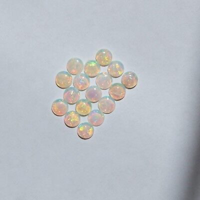 Natural Solid White Light Opal 1.50Ct 3.5Mm Round Loose Unset 17 Pieces Cabochon