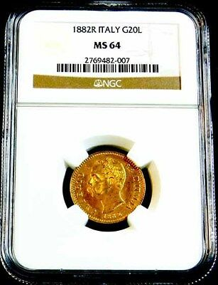 1882 R Italy 20 Lire Gold Coin Ngc Ms64 *****l@@@k*****