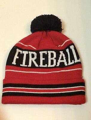 Red/ Black Fireball Whiskey winter beanie Pom Pom Hat