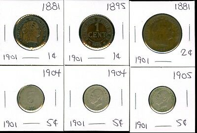 Haiti - 1881 1895 1 Cent - 1881 2 Cents - 1904 1904 1905 5 Cents - 6 Coin Lot