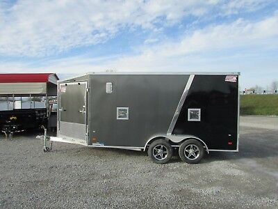 New 7 X 19 Enclosed Snowmobile Trailer 2 Place *all Aluminum* Dr Trailer