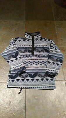 Vintage PATAGONIA Fleece Pullover Aztec Print 90s Youth Large MADE IN USA