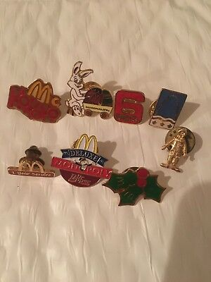 Lot Of 8 McDonalds Pins Crew, Ronald, Christmas, Easter, 6 month, monopoly, more
