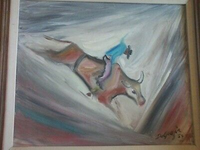 Lg. Original Ted Degrazia Oil Painting Rarely Seen On Open Market Guaranteed Coa
