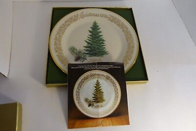 """First Annual 1976 Lenox Christmas Collector Plate Douglas Fir Large 10.5"""" In Box"""