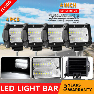 4x 4inch 54W LED Work Light Bar Cube Pods Flood Offroad 4WD ATV SUV Driving Lamp