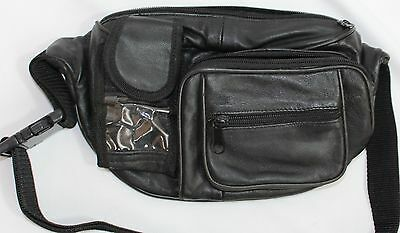 Very Nice Black Leather Waist Pack, 3 Outer Pockets Inc Phone! Great Shape!!