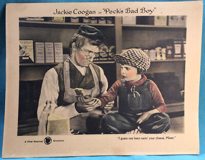 "Lobby Card Jackie Coogan ""Peck's Bad Boy"" 1921 ORIGINAL Uncle Fester Addams"