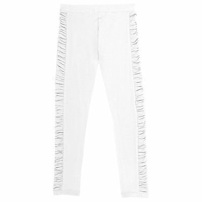 French Toast Little Girls' Legging with Ruched Side Panel, White Size 4