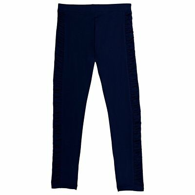 French Toast Little Girls' Legging with Ruched Side Panel, Navy Blue Size 4