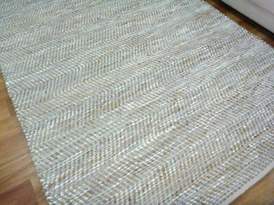 Leather and Jute Floor Rug Rustic Charm Natural White & Hall Runner