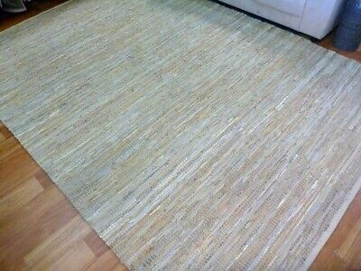 Leather and Jute Floor Rug Rustic Charm Beige Natural & Hall Runner