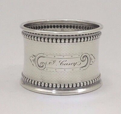 """Fine Antique Engine Turned Engraved Sterling Silver Napkin Ring """"P. Casey"""""""