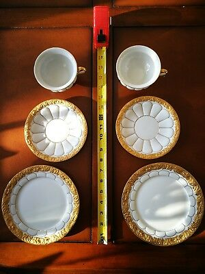 2 sets of Meissen Gold Plate Cup Saucer trio (total of 6 pieces)