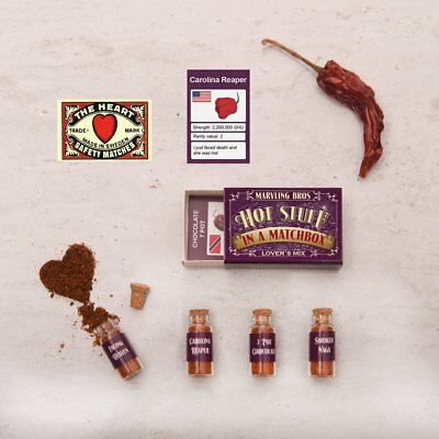 HOTTEST CHILLI POWDERS IN A MATCHBOX: LOVERS MIX >MARVLING BROS. Carolina Reaper