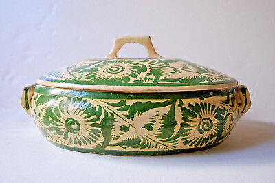Large Vintage Mexican Tlaquepaque Pottery Green & Cream Oval Cazuela Tureen