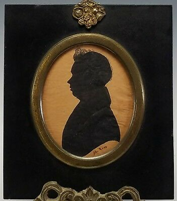 ANTIQUE EARLY 19th CENTURY FOLK ART MINIATURE PORTRAIT SILHOUETTE PAINTING SIGND