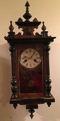 Small Antique Junghan Wall Clock, Very Good Condition, Runs Great with Key
