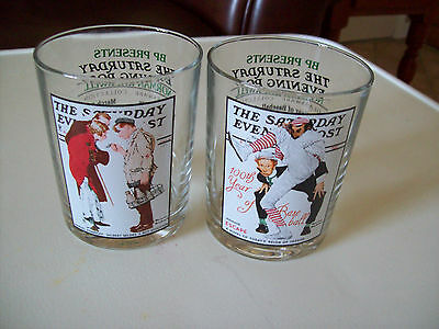 Norman Rockwell SATURDAY EVENING POST 2 drinking beverage glasses