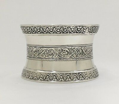 Gorgeous Hour Glass Shape Bright Cut Engraved Large Sterling Silver Napkin Ring