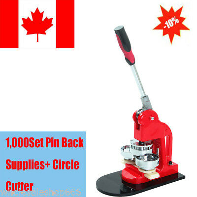 Button Maker Badge Punch Press Machine+Free 1000 Parts Circle Cutter 25mm Simple