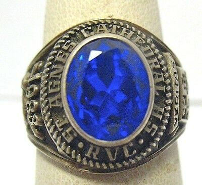1983 Silver St. Agnes Cathedral High School Ring Blue Stone Size 7 Syboll