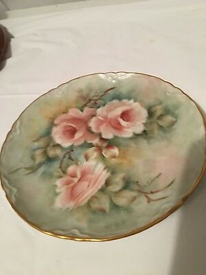 Lot 3 Porcelain hand Painted Floral Roses Daisy porcelain   Wall Plates