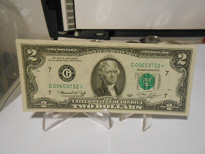 "$2 1976 TWO DOLLAR US BILL "" G "" Serial: G00653752* Circulated Federal Star Note"