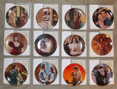 *full Set Of 12 Plates– The Passions Of Scarlett O'hara– Gone With The Wind– Coa