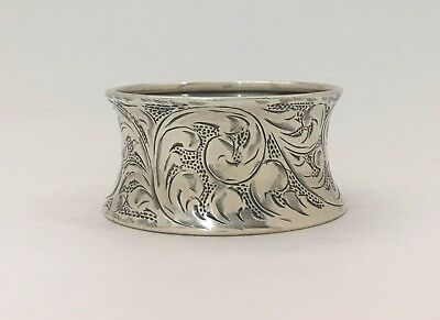 """Beautiful Hour Glass Shape Bright Cut Engraved Sterling Silver Napkin Ring """"JEV"""""""