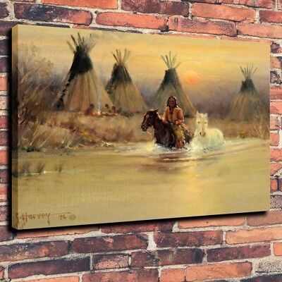 Art Print on Canvas Oil Painting Indians Horse Tipi River Home Decor Unframed