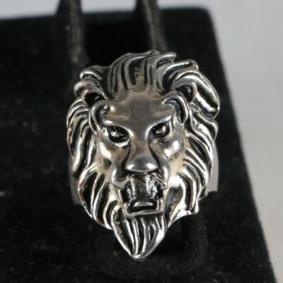 Collectable Tibet Silver Hand Carved The lion Ring  GS021