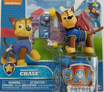 Paw Patrol Mission Quest Chase Action Pup Figure with Cape & Removable Pack NEW