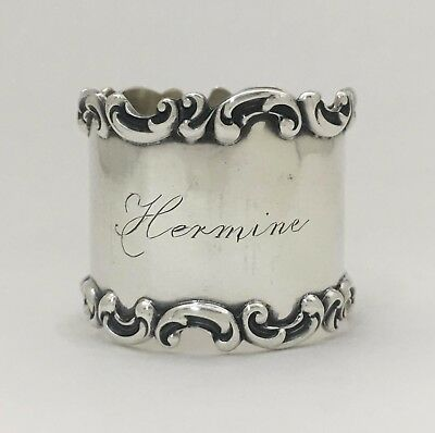 """Lovely Wallace Antique Sterling Silver Napkin Ring """"Hermine"""""""