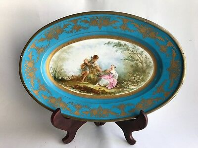 Antique 19th c. lage Oval Sevres France Hand Painted Porcelain, Hallmark