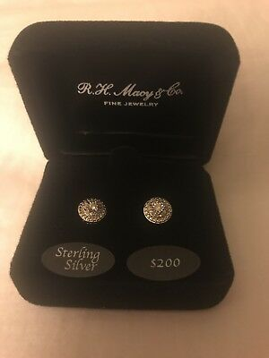 Gift New Macy S Diamond Stud Earrings In Sterling Silver 1 10 Tcw Worth