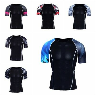 AU Men Compression Sports Quick Dry Tops Short Sleeve Sports Fitness Base Layers