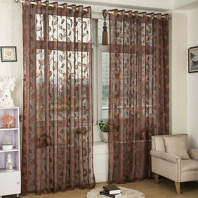 Door Window Scarf Sheer Leaf/floral Tulle Curtain Drape Panel Voile Valances New