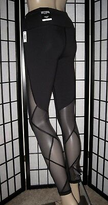 Nwt Victoria's Secret Sport Black Sheer Mesh Panel Knockout Tight Leggings Yoga