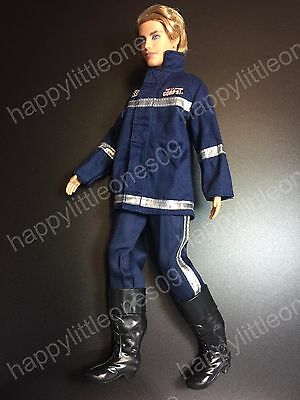Ken Doll Fire Fighter Police Uniform Suit Outfit & Boots Barbie New with Defect