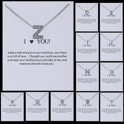 New Alloy Rhinestone Crystal Initial Alphabet Letter Pendant Chain Necklace